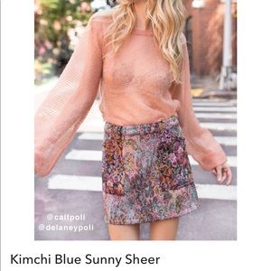 Urban outfitters Sunny Sheer Peach Pullover